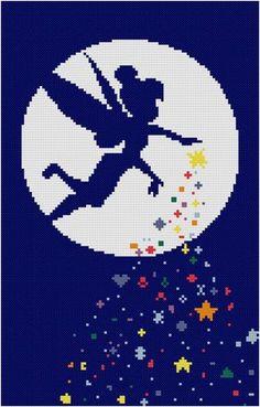 Modern Cross stitch pattern Tinkerbell PDF Download, Disney, Peter Pan Cross Stitch Chart, Embroidery Needlework by HELENEWORKSHOP
