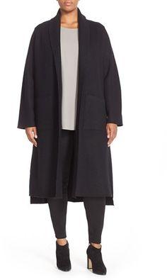 Eileen Fisher Boiled Wool Kimono Coat (Plus Size)