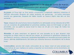 Columbus (@ColumbusDM) | Twitter | #ParaCerrar #Columbus #Noticias Minutas FED disminuyen expectativa de alza en junta de marzo; peso continúa con optimismo por anuncio Comisión Cambios.