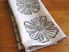 Hand printed linen tea towel, black cosmo flower, kitchen/bathroom