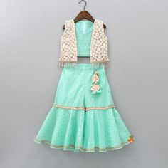 Pre Order: Aqua Blue Top With Attached Jacket And Sharara Kids Party Wear Dresses, Kids Dress Wear, Baby Girl Party Dresses, Kids Gown, Dresses Kids Girl, Kids Outfits, Children Dress, Kids Wear, Indian Dresses For Kids