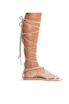 - lace-up gladiator sandal Upper: suede Outsole: leather genuine leather lining flexible outsole lace-up front with wrap around tie back zipper closure imported