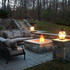 fire pit and wall, love this space! Gona build this staircase from lower to upper level patio. Love this soooo much.