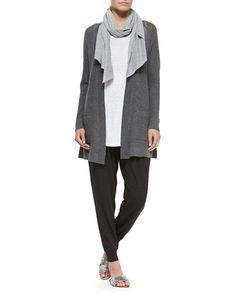 -5KG8 Eileen Fisher Washable Wool Long Cardigan, Linen Jersey Tank,  Parallelogram Scarf & Cozy Slouchy Ankle Pants