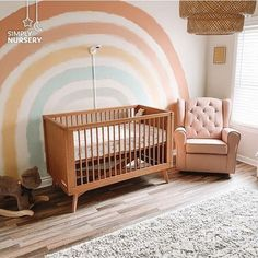 : How to create a Boho Rainbow Nursery Trend alert! : How to create a Boho Rainbow Nursery Baby Bedroom, Baby Room Decor, Baby Girl Rooms, Baby Room Colors, Baby Room Art, Baby Girls, Nursery Wall Murals, Baby Room Design, Creation Deco
