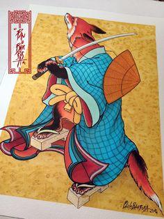 Samurai Fox  Art by Paulo Barbosa - Ariuken Art on Facebook