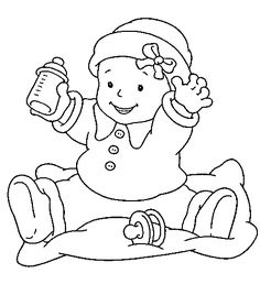 Baby Girl Sitting With Pacifier Coloring Pages Baby Coloring