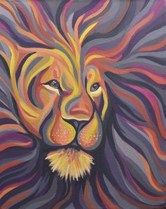 Purple Lion Painting