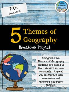 Five Themes of Geography Activity. Apply the five themes of geography to your home town! Everything included to get started today! Five Themes Of Geography, Geography Activities, Geography Lessons, Teaching Geography, Teaching History, History Education, Teaching Resources, 7th Grade Social Studies, Social Studies Classroom