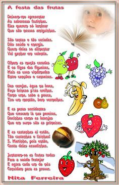 Nita Ferreira Poesia Infantil: A festa das frutas Games For Kids, Activities For Kids, Crafts For Kids, Fairy Tales For Kids, Educational Games, Writing Activities, Professor, 1, Facebook