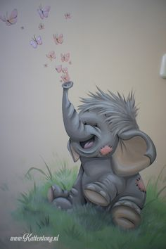Wall painting: baby elephant with butterflies. Manufactured by Kattentong Decoratiew … Muurschildering: Baby olifantje met vlinders. Bedroom Murals, Wall Murals, Kids Cartoon Characters, Country Wall Decor, Baby Room Colors, Baby Zimmer, Wall Drawing, Tatty Teddy, Baby Decor