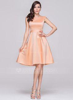 A-Line/Princess Off-the-Shoulder Knee-Length Satin Bridesmaid Dress (007060603) - JJsHouse