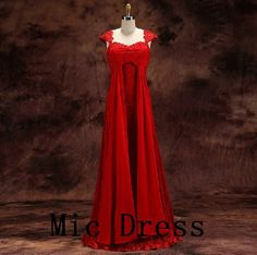 Straps cap sleeves floor-length red chiffon with appliques beading long prom/Evening/Party/Homecoming/cocktail /Bridesmaid/Formal Dress on Wanelo
