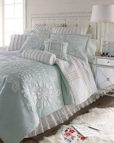 """Dena Home Full/Queen Aqua Comforter w/ Floral Applique, 96"""" x 92"""" - traditional - duvet covers - Horchow"""