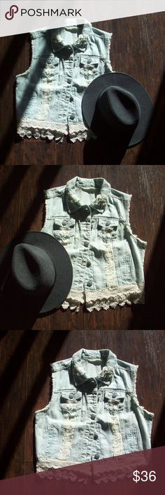 Lightwash Distressed Denim Crochet Trim Vest The best way to have unique style is to have boutique pieces! This is the sweetest denim vest and it looks so good with so many things. It has distressed tearing on front and raw trim sleeves. The double layer of crochet trim along bottom softens the look of denim. Pair it with a maxi skirt or wide leg pant for a casual bohemian look. 100% cotton. Vanilla Star Jackets & Coats Vests