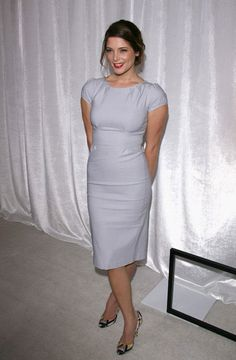 """Ashley Greene in a Modest Dress Classic """"Ashley"""" in Dove Gray $145.00 http://www.jenclothing.com/ss-ashley-03-dvgry.html"""