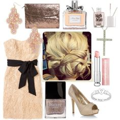 Rosy Gold Formal Outfit & Hair