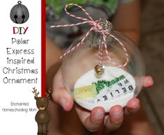 Have fun crafting your very own DIY Polar Express themed Christmas ornament! Polar Express Party, Polar Express Crafts, Polar Express Christmas Party, Polar Express Activities, Preschool Christmas, Christmas Activities, Christmas Themes, Christmas Holidays, Christmas Ornaments
