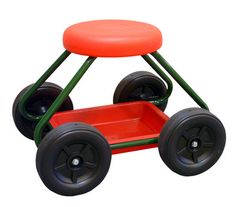 Rolling Garden Work Seat- Makes 'down and dirty' gardening jobs more comfortable, saving backs and knees! Includes a tray under the padded seat so that your tools are always close by and its four large wheels means it can roll over pathways and uneven surfaces effortlessly.