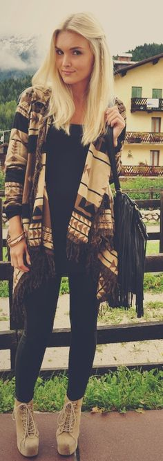 Minus the fringe purse. Its cute but way too much fringe with the sweater. I would use a more structured purse!