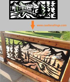 Artisan crafted laser cut panels for log home railings and decor. Artist inspired designs for a rustic or modern feel. Laser Cut Panels, Metal Panels, Outdoor Railings, Plasma Cutter Art, Dremel Carving, Deck Stairs, Rustic Outdoor, Modern Industrial, Log Homes