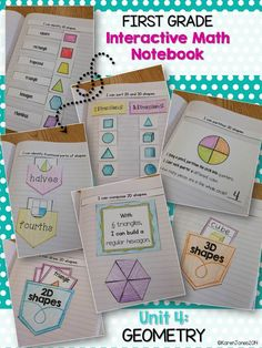 First Grade Geometry Interactive Math Notebook! Daily entries for a month! My kids look forward to working in their notebooks every day.  $