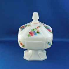 Vintage Fenton Art Glass Hand Painted Floral Decorations Milk Glass Lidded Pedestal Candy Dish by KattsCurioCabinet on Etsy