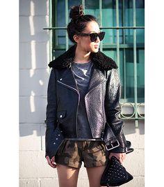 @Who What Wear - Jenny Ong of Neon Blush  On Ong: Acne jacket; Style Stalker top; Rag & Bone Lakshmi Shorts ($249); Yosi Samra Blair Studded Foldover Clutch ($154)