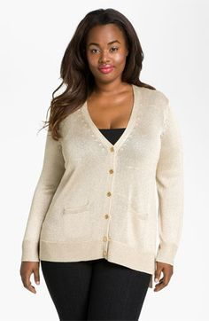 Vince Camuto Metallic Cardigan (Plus) available at #Nordstrom