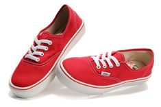 Red Vans Mens Classics Canvas Shoes On Sale  $56.00