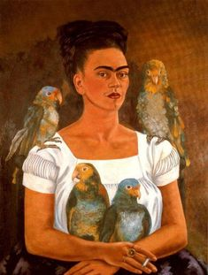 Me and my Parrots, Oil by Frida Kahlo (1907-1954, Mexico)
