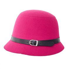 Fashion Retro Women Girls Woolen Fedoras Belt Bucklet Dome Cloche Hats Cap Headwear Accessories