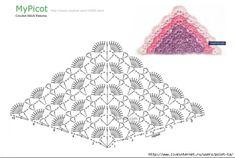 La cinta | las Anotaciones con la marca la cinta | PoletTa Crochet Shawl Diagram, Crochet Chart, Crochet Lace, Crochet Shawls And Wraps, Crochet Scarves, Crochet Clothes, Crochet Stitches Patterns, Crochet Designs, Crochet Triangle