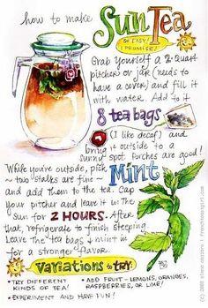 Yummy Drinks, Healthy Drinks, Refreshing Drinks, Sun Tea Recipes, Books And Tea, Tips & Tricks, Tea Blends, Mets, Herbal Tea