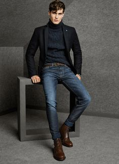 Classic Black Blazer and Turtleneck with Fitted Jeans. Men's Fall Winter Fashion.