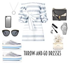 """Throw-and-Go Dresses 30/08/17"" by anna-milevskaya ❤ liked on Polyvore featuring Alexis, Marc Jacobs, Fendi, Le Specs, Speck and Bobbi Brown Cosmetics"