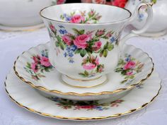 ROYAL ALBERT MOSS ROSE TRIO - VINTAGE ENGLISH BONE CHINA CUP SAUCER TEA PLATE | eBay