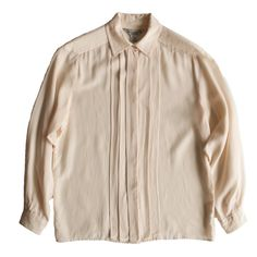 Vintage long sleeve cream silk blouse, with stitched shoulder details. Blouse has covered placket to hide the front buttons, and one button at each cuff. Blouse Vintage, Vintage Clothing, Vintage Outfits, Modern Wardrobe, Buttons, Shirt Dress, Silk, Cream, Shoulder