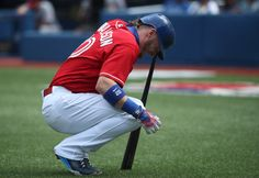 Josh Donaldson Photos Photos - Josh Donaldson #20 of the Toronto Blue Jays reacts after fouling a ball off his leg in the first inning during MLB game action against the Minnesota Twins on August 28, 2016 at Rogers Centre in Toronto, Ontario, Canada. - Minnesota Twins v Toronto Blue Jays