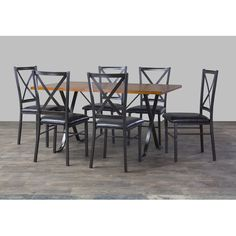 Baxton Studio Isley Wood and Metal 7-Piece Contemporary Dining Set - Overstock™ Shopping - Big Discounts on Baxton Studio Dining Sets