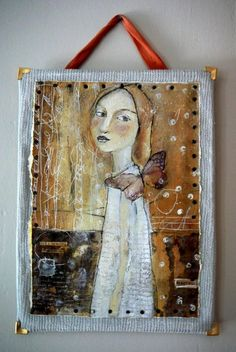 Original mixed media painting by artist Misty Mawn - I like the way this is mounted and hung