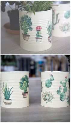 Home Crafts, Diy And Crafts, Decoupage Tins, Tin Can Art, Recycled Tin Cans, Tin Can Crafts, Tin Can Diy Projects, Painted Plant Pots, Decorated Flower Pots
