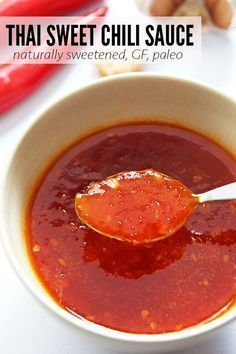 This homemade Thai sweet chili sauce is naturally sweetened and uses no thickeners. It is gluten free and paleo friendly - a delicious condiment and dipping sauce.