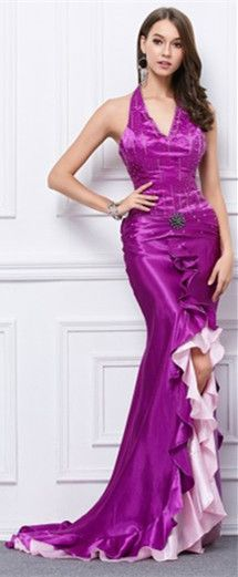 Custom made-to-order formal dress by GemGrace. Multiple colors and all sizes available. Additional photos also available upon request. Sexy Halter Mermaid Purple Long Formal Dress, Prom Dress 2016, Evening Dress 2016.