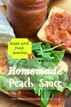 A quick and easy homemade peach sauce called Savory Peach Compote. Made with honey instead of sugar. Good on sandwiches, meat, ice cream and pancakes. #fruitspread #peaches Burger Recipes, Pork Recipes, Crockpot Recipes, Snack Recipes, Dinner Recipes, Peach Compote, Peach Sauce, Compote Recipe, One Dish Dinners