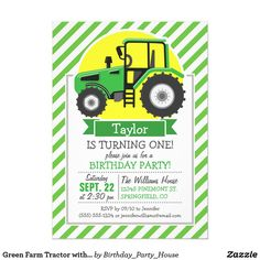 Green Farm Tractor with Yellow; Green & White Card Cool, colorful kid's Green Farm Tractor with Yellow; Green & White pattern. Perfect gift for baby, toddler, kids, children, teens, or adults! Personalized the design by adding a child's name or custom text. Visit our store, Birthday Party House, for more great customizable boy and girl products!