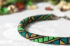 "Bead Crochet Necklace ""Geometry"" - Geometry design, Geometrical print, Green necklace, Rope necklace, Handmade jewelry, Seed bead necklace"