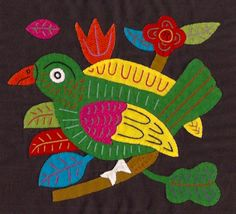 Items similar to Outstanding Mola Bird - Kuna Indian Applique Mola/Molita Textile Art on Etsy Fabric Birds, Fabric Art, Easy Sewing Projects, Sewing Projects For Beginners, Diy Baby Headbands, Bird Quilt, Quilting For Beginners, Arte Popular, Applique Designs