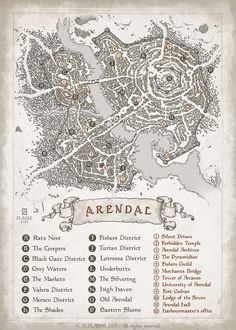 Arendal - RPG project commission © M.PLASSE 2015 map cartography | Create your own roleplaying game material w/ RPG Bard: www.rpgbard.com | Writing inspiration for Dungeons and Dragons DND D&D Pathfinder PFRPG Warhammer 40k Star Wars Shadowrun Call of Cthulhu Lord of the Rings LoTR + d20 fantasy science fiction scifi horror design | Not Trusty Sword art: click artwork for source