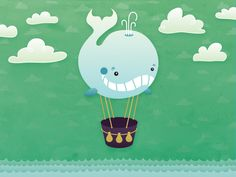 Hot Whale Balloon by Craig Moscony http://dribbble.com/shots/1258346-Hot-Whale-Balloon